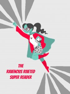 Riveted superhero with text